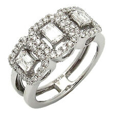 New DIAMOND COCKTAIL RING 18K Solid White GOLD 3-STONE 1.06TCW F-G/VS Size 6.5