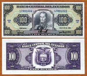 Ecuador, 100 Sucres, 1990, P-123, UNC > Pre-USD$