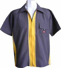 Mens Zip Shirt Retro Skate T-shirt Clubbing Collar Design Surf TShirt Large New