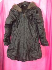 Black Coat Puffa Scrunchy Look Zip With Hood Age 9-10 Years Faux Fur Trim