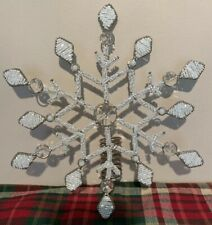 Christmas White And Silver Beaded snowflake Tree Topper