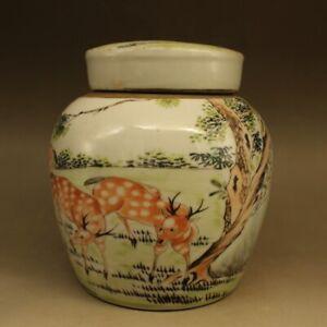 """6.3"""" Fine China Famille-rose Porcelain Animal Lovable Deer Tea-Caddy Pot Kettle"""