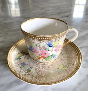 Antique Royal Worcester Jeweled Tea Cup & Saucer