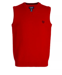 NEW CHAPS by Ralph Lauren Boy's Red Sweater Vest L (14/16) NWT $36.
