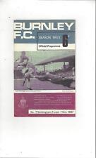 Burnley v Nottingham Forest 1967/68 Football Programme