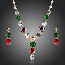 Green Purple Red Clear Swiss Cubic Zirconia Necklace & Earrings CZ Jewelry Set