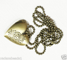 Antique brass heart locket necklace with Iron ball chain