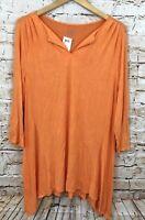 LOGO Lori Goldstein shirt tunic womens large vneck asymmetrical hem new 3/4 C6