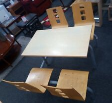 More details for contemporary white formica canteen style dining table & 4x chairs - cis h57