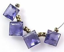 GENUINE GEMSTONE WATER SAPPHIRE IOLITE FACETED SQUARE PRINCESS CUT BEADS 9mm J28