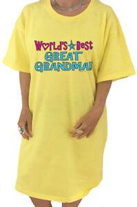Ladies Night Gown Sleep Shirt Dress Tee Worlds Best Great Grandma Gifts