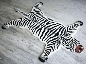 Hand Tufted Wool Animal Theme Zebra Carpet Living Room Rug 95'x155' Cm DN-1897