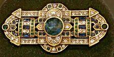 Deco Bar Pin Heidi Daus Brooch Clear Montana Blue Emerald Crystals Bronzetone