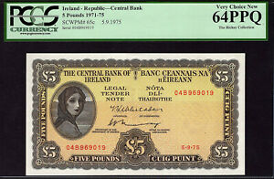 Ireland – Republic, 5 Pounds, 5.9.1975, Pick 65c, Serial # 04B969019, PCGS 64PPQ