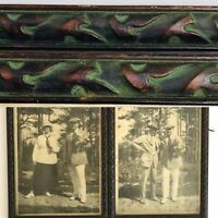 2 Estate Antique Tinted Pictures In Matching Carved Dark Wood And Green Frames