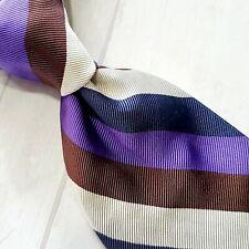 A2) Altea Milano Brown Multicolor Striped Silk Blend Nectie Made in ITALY
