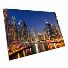 "DUBAI CREEK NIGHT NEW A1 CANVAS PRINT POSTER FRAMED 33.1/""x23.4/"""