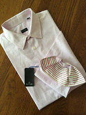 PS BY PAUL SMITH SLIM FIT PALE PINK & WHITE STRIPE LONG SLEEVE SHIRT SIZE M