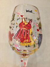 Retired Lolita Hand Painted NOT TONIGHT Wine Glass NIB