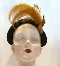 Vintage 50's Marie Belle Brown Wool Felt Hat Mustard Bird 40's Tilt Fascinator