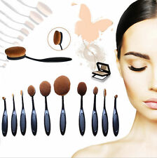 10PCS Toothbrush Elite Oval Multipurpose Makeup Brushes Set Full Black