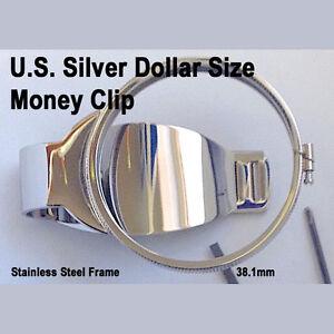 Silver Dollar Size Money Clip Stainless Coin Holder Bezel Morgan Peace Liberty