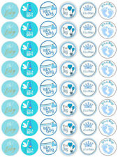 48 Baby Shower Boy Blue Cupcake Edible Fairy Cake Wafer Toppers 3cm