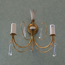 Floral 2 Lt Victorian Style Wall Light Brass & Ivory EX STORE DISPLAY Litecraft