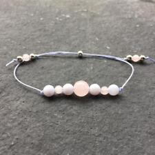 Crystal Healing Bracelet Blue Lace Agate Rose Quartz Sterling Silver - Calming