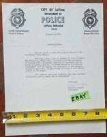 Vintage Police Badge Signed Letter 1979 Department City La Vista Nebraska