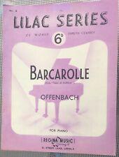 Rare Vintage Original Uk Sheet Music, Barcarolle, Piano, Lilac Series