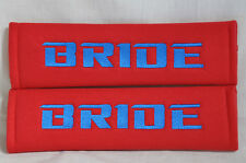 Embroidery Blue on Red Bride Racing Logo Seat Belt Cover Shoulder Pads Pairs