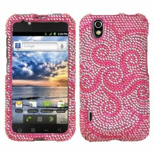 For LG Ignite Crystal Diamond BLING Hard Case Snap on Phone Cover Whirl Flower