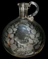 Antique Vtg 19th C 1800s Blown Glass Brandy Flask Bottle Engraved Applied Handle