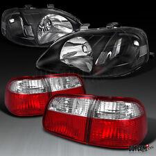 Honda 99-00 Civic 4Dr Sedan Diamond Black Headlights+Red/Clear Tail Lights