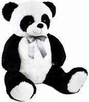"BRUBAKER XXL Panda Teddy Bear with Bow 40"" Plush Soft Toy Stuffed Animal"