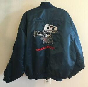 Vintage Hollywood Panavision Film Crew Bomber Jacket Navy Blue Mens 2X XXL Nice