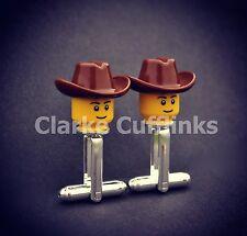 LEGO ® Mini Figure COWBOY HAT CUFFLINKS SILVER PLATED NOVELTY WEDDING STAG GIFT