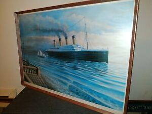 Large artist signed Print of Titanic enterong Southampton 9th April 1912