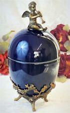 Porzellan Dose Ei Bronze Bonboniere Schmuckdose Engel Schatulle Deckeldose Antik