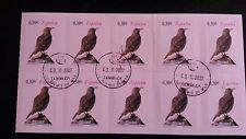 SPAIN 2007 ALONDRA RICOTTI DUPONT LARK BLOCK OF 10 SC# 3522 BIRDS postmarked