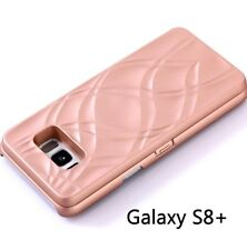 Samsung Galaxy S8+ Plus - ROSE GOLD Mirror Wallet Case w/ Stand + Card Holders