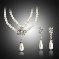 Choker Crystal Wedding Jewelry Set Pearl Pendant Unique Earring Necklace Set