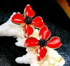 New Betsey Johnson Rare Alloy Rhinestone red Enamel Flower Drop earring Jewelry