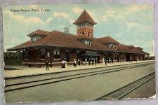 Antique Postcard 1912 Frisco Railroad Train Depot Paris Texas