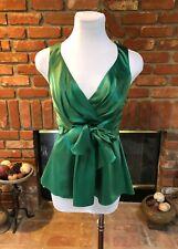 Cynthia by Cynthia Steffe sz 0 Green Shiny Ruched Fitted Silk Dressy Shirt Top*