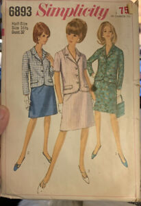 1960's Womens Suit Simplicity 6893 Vintage Sewing Pattern Size 16 1/2