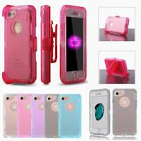 For iPhone XR/XSMAX/XS/X/8/7/6 P Shockproof Clear Defender With Belt Clip Case