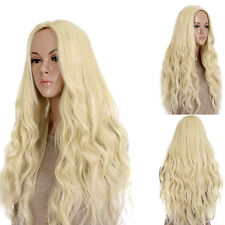 Cosplay Long Light Blonde Curly Heat Resistant Wavy Women's Hair Full Wig Wigs T