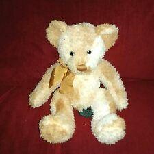 Russ Berrie FRASER Teddy Bear 10in Golden Ombre Soft Fuzzy Plush Gold Bow